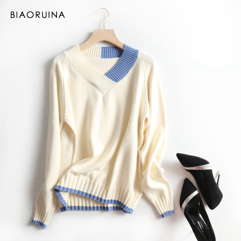 BIAORUINA Women's Casual All-match Knitted Sweater Female Contrast Color Fashion V-neck Pullover Ladies Elegant Sweater One Size