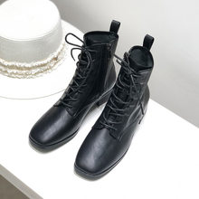 2020 Autumn New Square Head Lace-up Side Zipper Simple Cool Lace-up Vintage Boots Women's Fashion(China)