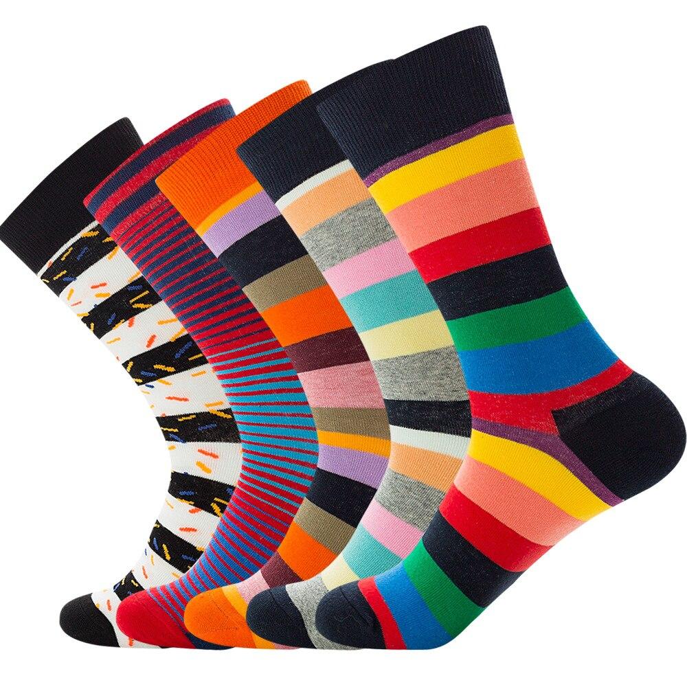 Fashion Stripe Unisex Happy Socks Men Colorful Autumn Winter Hip Hop Socks Cotton  Gifts For Men EUR38-44 112901
