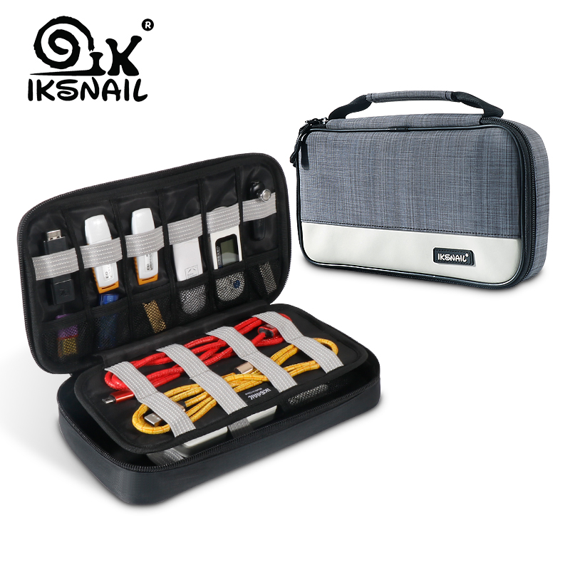 IKSNAIL Portable Electronic Accessories Travel Case Organizer Bag Gadget Carry Bag For iPad Cables Power USB Flash Drive Charger