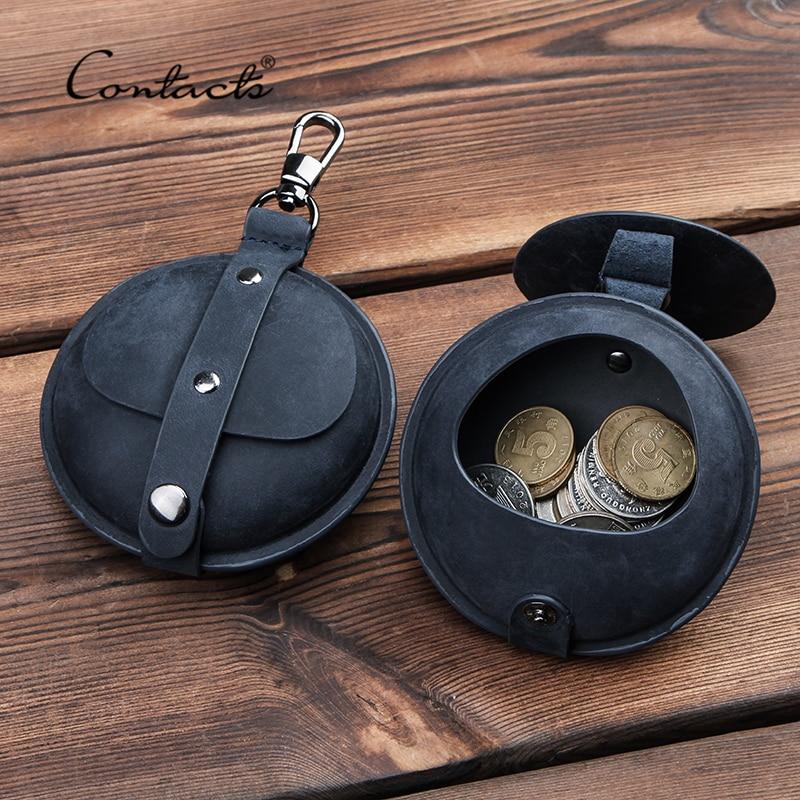 CONTACT'S Crazy Horse Leather Coin Purse Small Wallet Men Women Vintage Mini Bag Multi-functional Money Earphone Storage Bag