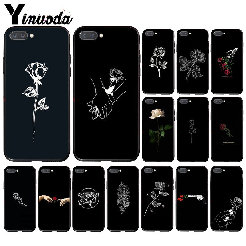 Yinuoda beautiful black white Rose flower Phone Case for Huawei Honor 8A 8X 9 10 20 Lite 7A 5A 8A 7C 10i 20i View10 9 image