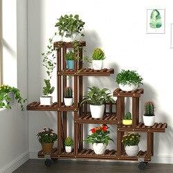 Kayu Bunga Berdiri Tanaman Berdiri Kayu Balkon Ruangan Bunga Pot Berdiri Multi-Lapisan Rumah Tangga Rak Taman Tanaman Hias Berdiri