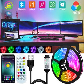 1-30M LED z Bluetooth pasek światła USB 5050 światło RGB SMD DC 5V elastyczne LED lampa taśma wstążka TV pulpitu ekran dioda podświetlenia tanie i dobre opinie RGBGW CN (pochodzenie) SALON 50000 Taśmy 2 88 w m Epistar RGB Strip 12 v Smd5050 LED Strip 5M Roll IR 44key Controller ) 5M 10M Full Set