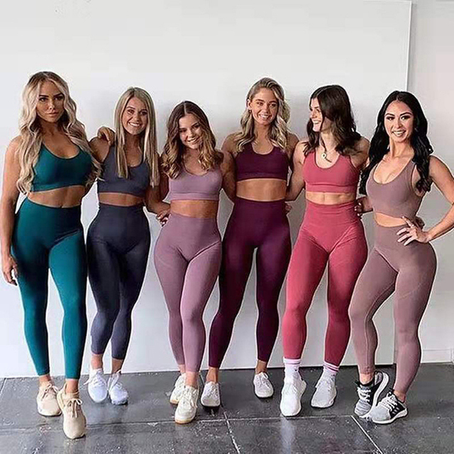 Fitness Women Yoga Set Gym 2-Piece Bras+Seamless Leggings Push Up Pants Exercise Padded Workout Running Suit Sportswear Athletic 6