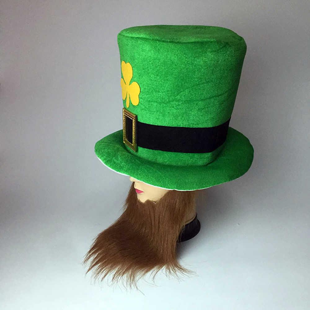 Saint Patrick Kostüm Top Hut mit Schnurrbart Cap Stirnband Irland Clover Party Irish Hüte st patricks tag Zubehör