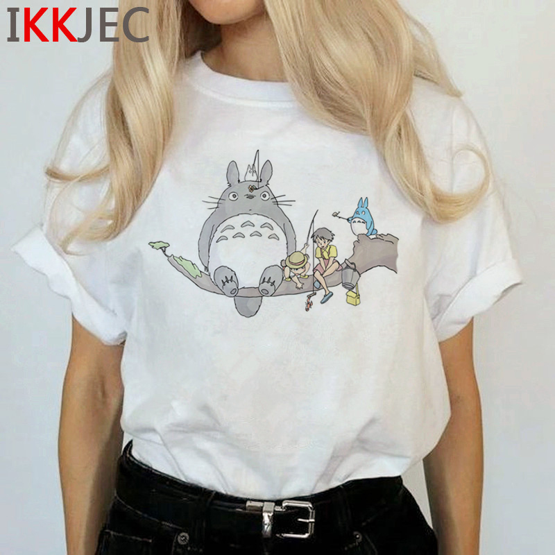 Totoro Harajuku Studio Ghibli T Shirt Women Miyazaki Hayao Ullzang Cute T-shirt Funny Cartoon Tshirt 90s Graphic Top Tees Female 24