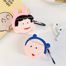 Case for Airpods 2 Accessories Bluetooth Earphone Protective Cover Cute Silicone Charlie Lucy with Keychain