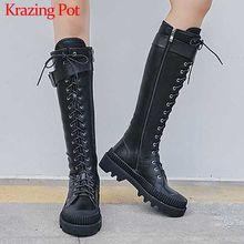 Krazing Pot high street fashion koele ronde neus lace up lange laarzen koe lederen winter warm punk vrouwen zip dij hoge laarzen L61(China)