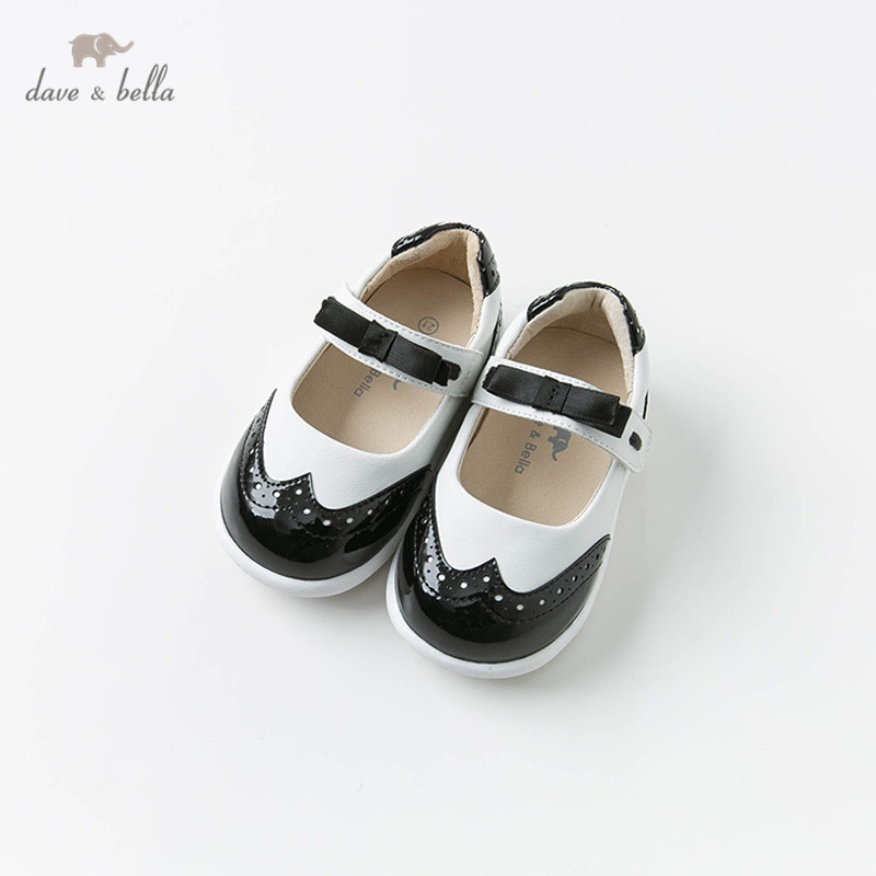 DB11885 Dave Bella Baby Girl Leather Shoes Spring  Children Princess Bow Shoes