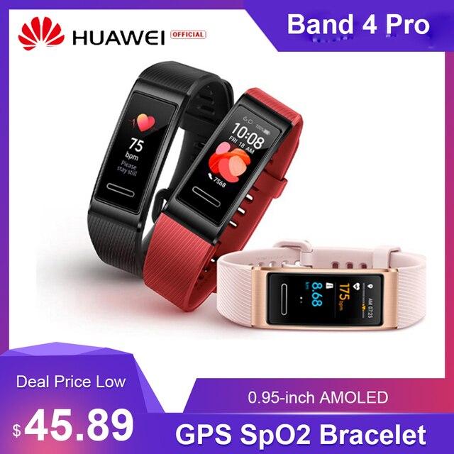 Huawei Band 4 Pro 0.95 pouces AMOLED écran tactile intelligent étanche BT Fitness Tracker fréquence cardiaque GPS SpO2 sang oxygène Bracelet