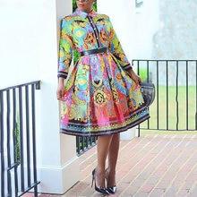 2021 novas chegadas vestido de escritório feminino elegante impresso manga cheia cintura alta uma linha trabalho moda negócios vestidos vestido midi quente