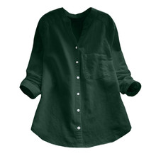 Womens Blouse New Fashion Women Cotton linen Casual Solid Long Sleeve Shirt Button Down Tops