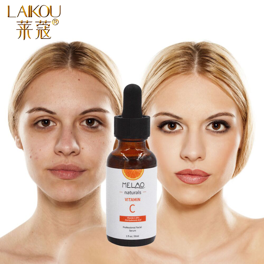LAIKOU Vitamin C Serum Hyaluronic Acid Cream Whitening Face Serum Essence Moisturizing Anti-Aging Anti-Wrinkle Skin Care 30ML