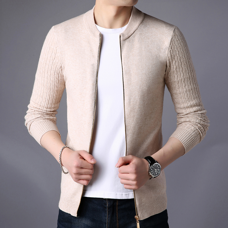 2019 New Fashion Cardigan Sweater Men Solid Stand Collar Zipper Slim Fit Cardigan Masculino Plus Size 3XL Christmas Sweaters 4