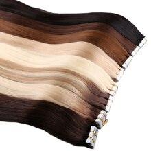 Лента для наращивания волос, прямые Бесшовные Невидимые натуральные неповрежденные волосы для наращивания, человеческие волосы, 18 дюймов 20...