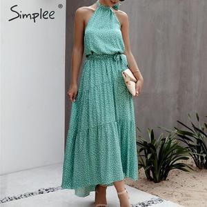 Image 2 - Simplee 섹시한 폴카 도트 여성 드레스 플러스 사이즈 민소매 높은 허리 벨트 맥시 boho 드레스 캐주얼 휴가 해변 파티 여름 드레스