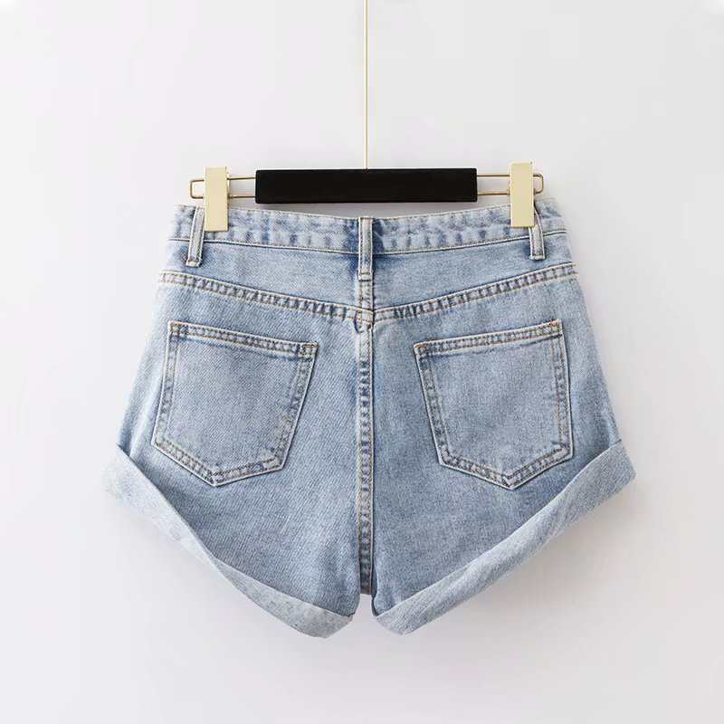 Summer New Style Europe And America WOMEN'S Dress-Style Solid Color Loose-Fit Crimping Washing Denim Shorts K2886