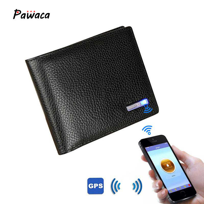 Men's Genuine Leather Bluetooth Wallet Short Cowhide Smart Thieves Anti-theft USB IOS Android Fashion Business Leather Wallets