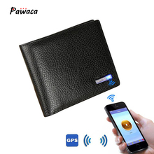 Men's Genuine Leather Bluetooth Wallet Short Cowhide Smart Thieves Anti-theft USB IOS Android Fashion Business Leather Wallets genuine leather wallet tracking anti theft smart wallet gps manufacture wholesale
