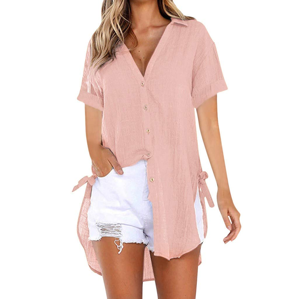 Chemise décontracté en lin couleur unie chemise courte en coton pour femmes