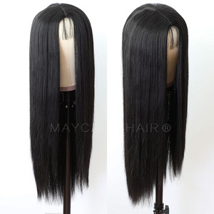 Image 3 - Maycaur Long Straight Black/Pink Synthetic Hair Wigs With Natural Hairline Heat Resistant Straight Wigs for Women