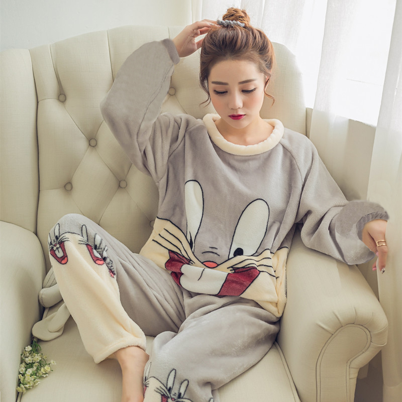 2019 Autumn Winter Women Pajamas Set Sleep Jacket Pant Sleepwear Warm Nightgown Female Cartoon Bear Animal Pants Sleepwear