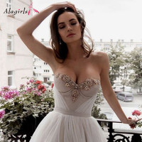Crystal Beading Wedding Dress Boho Sweetheart Wedding Gowns Elegant Tulle Robe de princesse 2020 Simple Weding