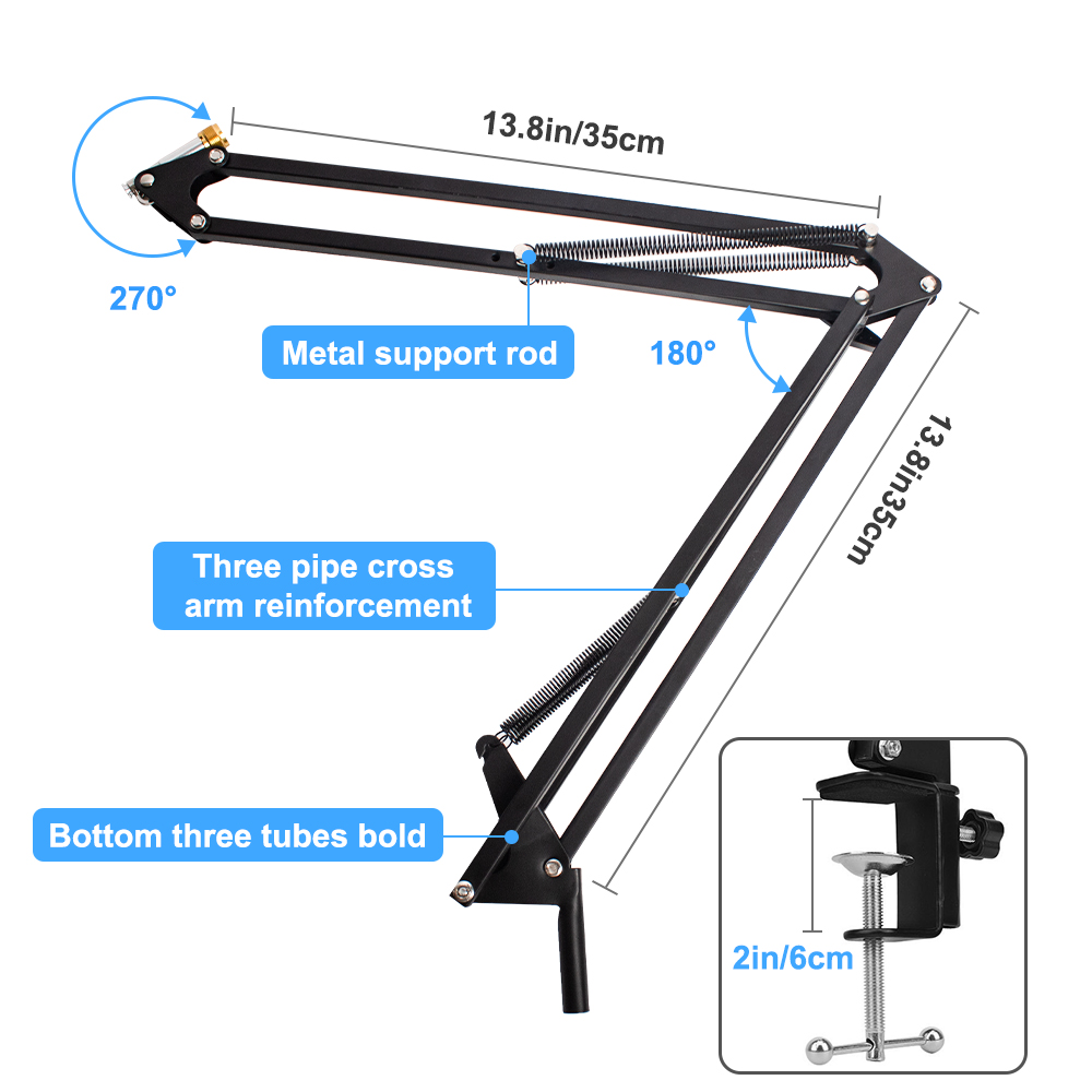 2021 Microphone Scissor Arm Stand 10 Inch Ringlight Heavy Duty Clamp Shock Mount For BM800 D80 E20 Streaming Broadcast Boom Arm - ANKUX Tech Co., Ltd