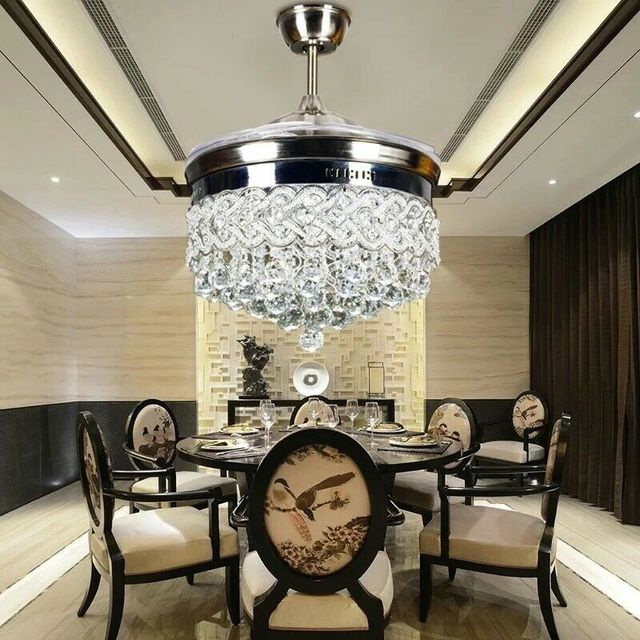 42 inch Silver Heart-Shaped Crystal LED Invisible Fan Light with Remote Control Adjustable Lighting Wind Speed Fan Chandelier