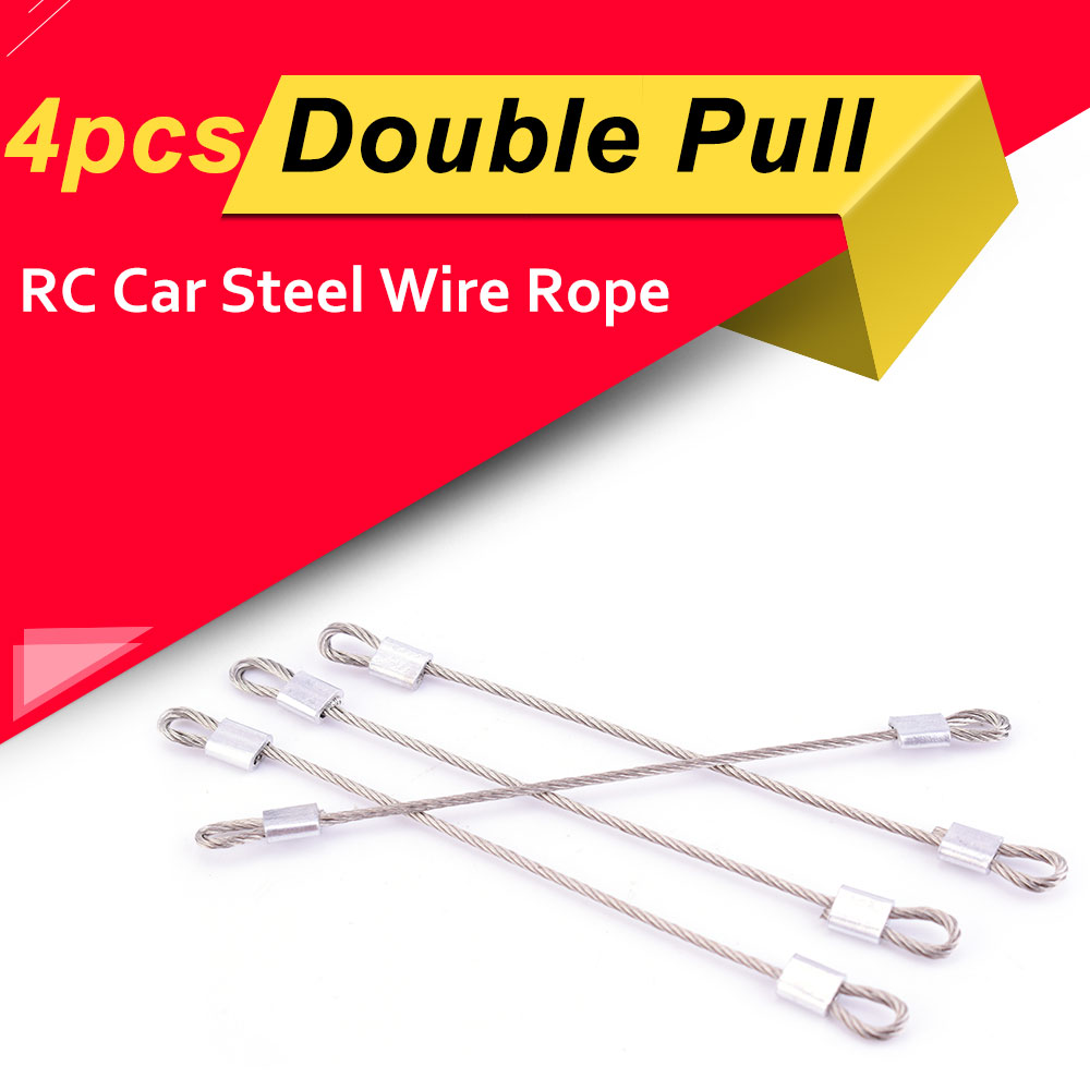 4pcs RC Car Double Pull Steel Wire Rope for 1//10 RC Crawler Traxxas TRX4 Axial SCX10 RC4WD D90 D110 Spare Parts Accessories