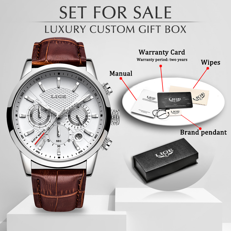 LIGE Top Brand Luxury Fashion New Leather Strap Quartz Men Watches Casual Date Business Male Wristwatches Homme Montre Clock+Box
