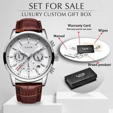 Lige topo marca de luxo moda nova pulseira couro quartzo relógios masculinos data casual negócios masculino relógios de pulso homme montre + caixa