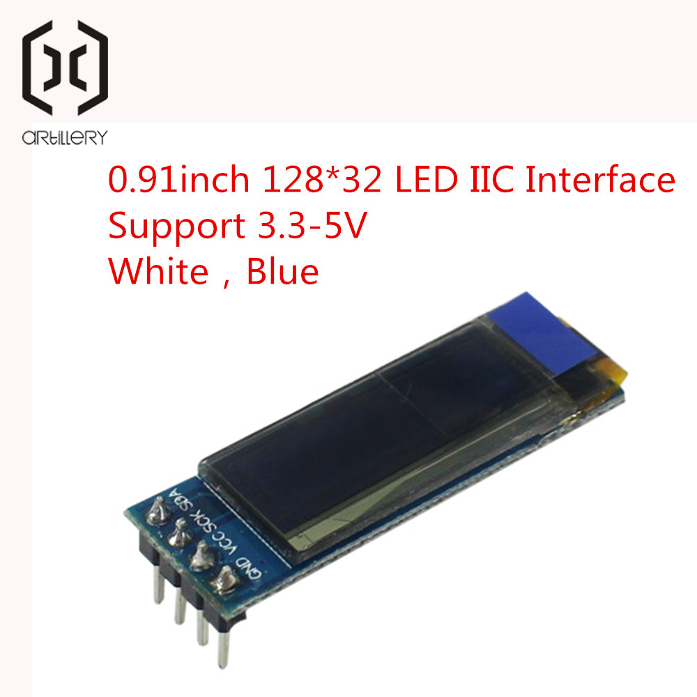 0.91 Inch 12832 White And Blue Color 128X32 OLED LCD LED Display Module 0.91 IIC Communicate