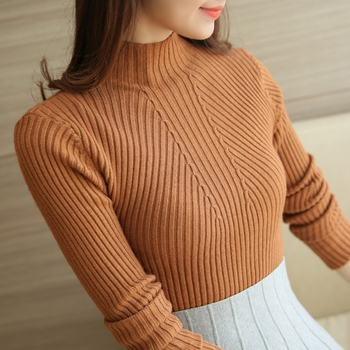 Fashion Solid White and Black Tops Sweaters 2020 Winter Long Sleeve Turtleneck Pullovers Womens Sweaters Femme Clothing 5218 9