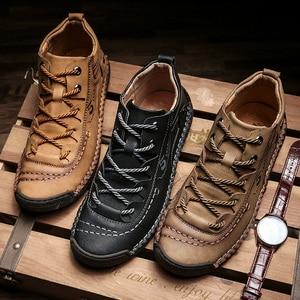 Image 2 - Valstone秋冬メンズスニーカー媒体カットブーツ男性ヴィンテージ革ハンドメイドの靴スニーカーxlサイズ48レトロフロスティブーツ