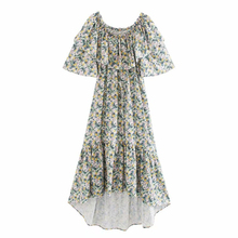 summer dress women floral printing sexy off shoulder midi dress
