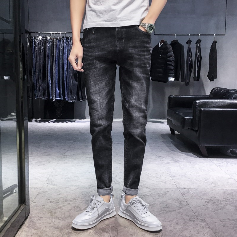 Spring And Autumn New Style MEN'S Jeans Elasticity Slim Fit Skinny Pants Korean-style Trend Black And White With Pattern Casual