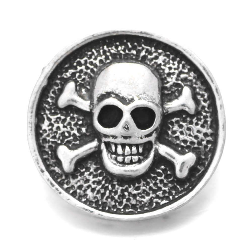 6 adet/grup yeni yapış takı 18mm yapış düğmeler karışık kristal taklidi kafatası Metal Snaps Snap düğmesi bilezik