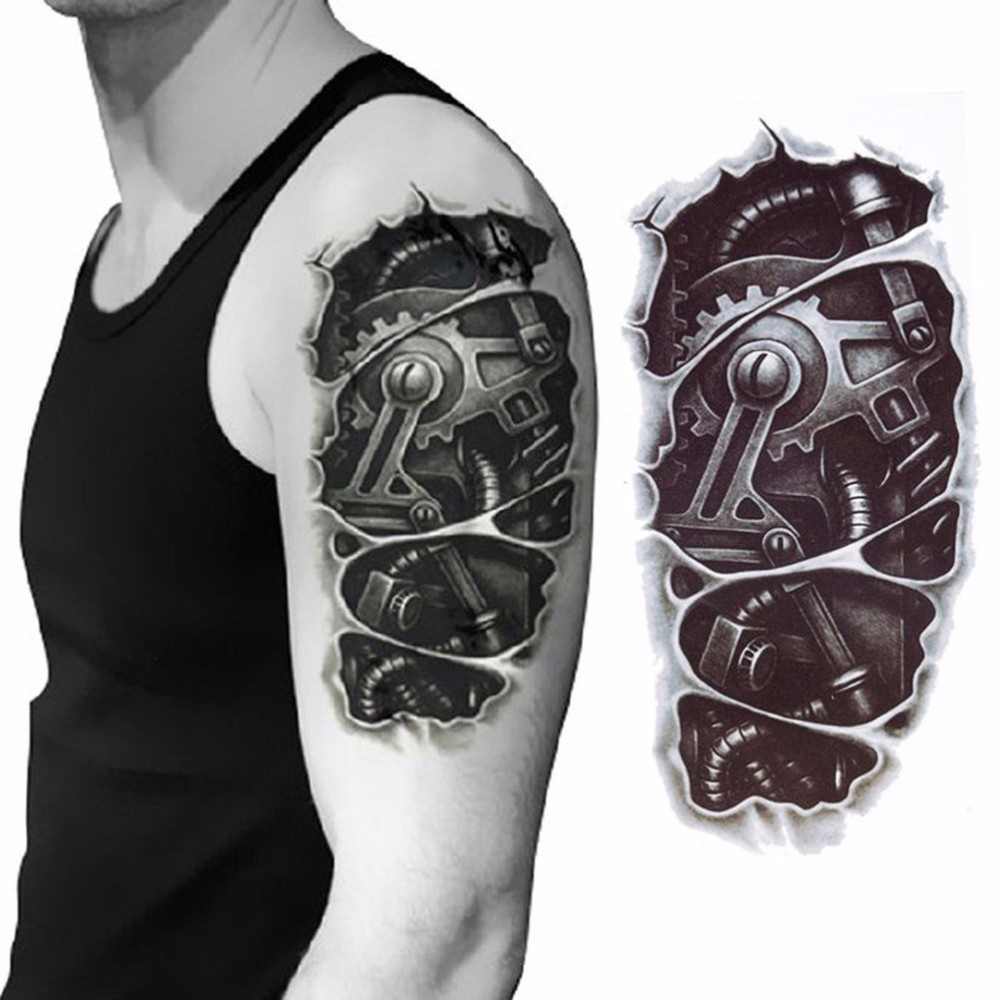 3D Mechanical Arm Fastening Nut Tattoo Sticker For Men Arm Hand Body Warterproof Temporary Tattoo New Arrival