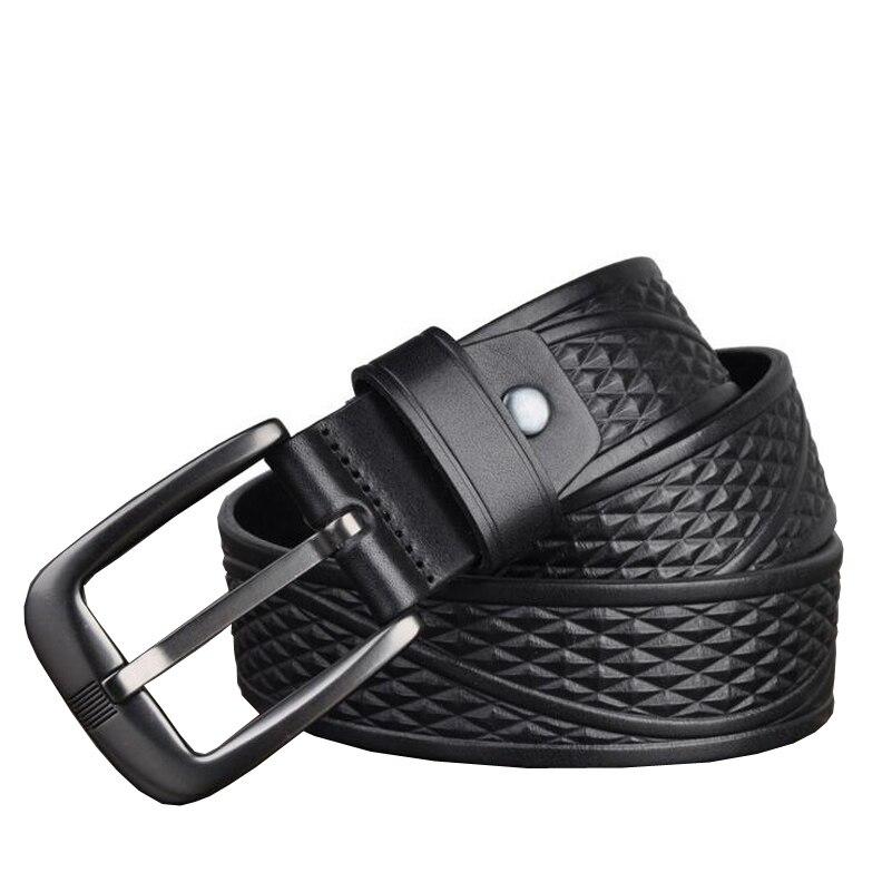Western Genuine Leather Print Business Pin Buckle Men Belt Vintage Cow Leather Jeans Causal Pants Men BeltMens Belts   -