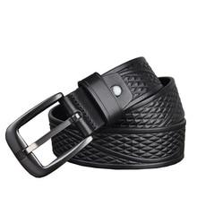 Western Genuine Leather Print Business Pin Buckle Men Belt Vintage Cow Leather Jeans Causal Pants Men Belt
