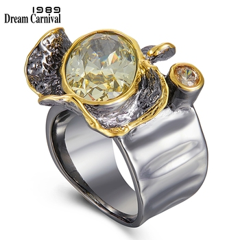 DreamCarnival1989 Very Big Dazzling Golden Color Delicate Cut Zircon Wedding Rings for Women Gothic Chic Dating Jewelry WA11785 1