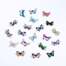 10 pçs/lote 23x12mm Mixedcolor Europa Moda Borboleta Encantos Pingentes Para DIY Colar Pulseira Jóias Fazendo Descobertas