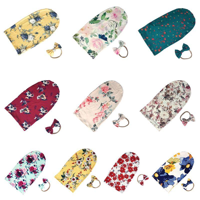 2 Pcs/set Newborn Baby Wrap Cloth Infant Swaddle Muslin Blanket Sleeping Bag Bow-knot Headband Photography Props