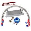 SPEEDWOW 13 ряд 10AN трансмиссионный масляный охладитель + Масляный адаптер фильтр охладитель нейлоновый Плетеный Масляный шланг линия серебряны...