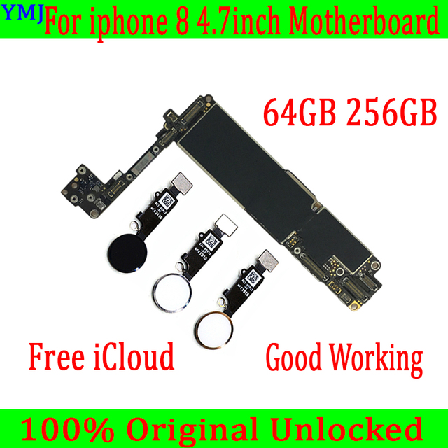 64GB 256G 100% Original unlocked for iphone 8 Motherboard With/Without Touch ID,for iphone 8 Mobile phone motherboard with Chips
