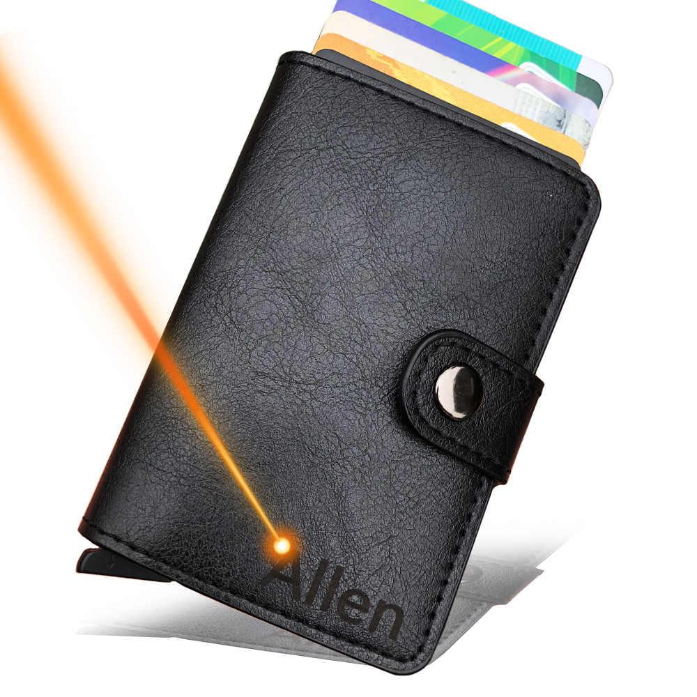 ภาพแกะสลักบัตรเครดิตบุรุษและสตรีโลหะ RFID VINTAGE กล่องอลูมิเนียมคุณภาพสูง PU กระเป๋าสตางค์หนัง Carteria