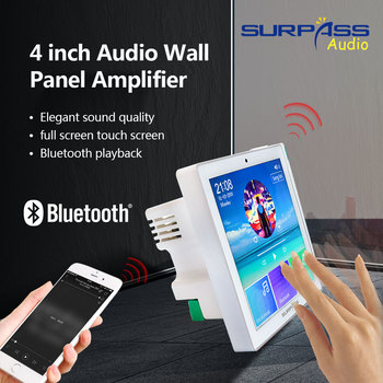 Smart Home Audio System Music Player 2,4 Channel 4inch Mini Touch Screen Wireless Bluetooth In Wall Amplifier with FM Radio,USB цена 2017