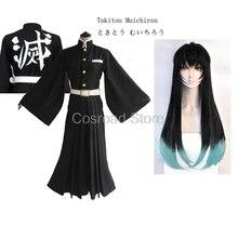 Disfraces de Cosplay de Cosroad Tokitou Muichirou, Demon Slayer: Kimetsu no Yaiba Muichirou Tokitou Wigs hombres mujeres uniformes tipo Kimono
